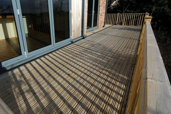 Deck area using Two Strip Grooved Deck Boards