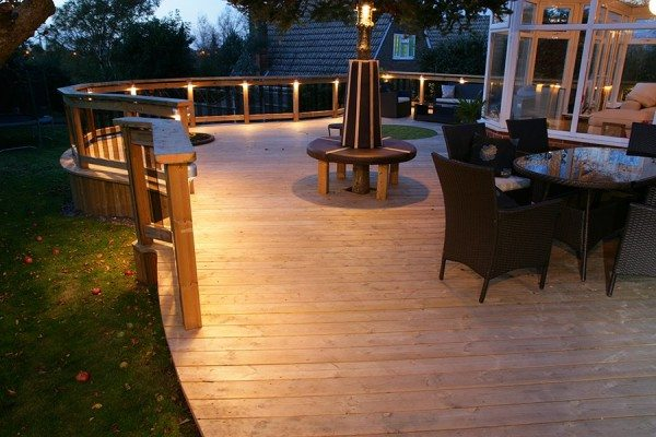 Down lights used in raised decking