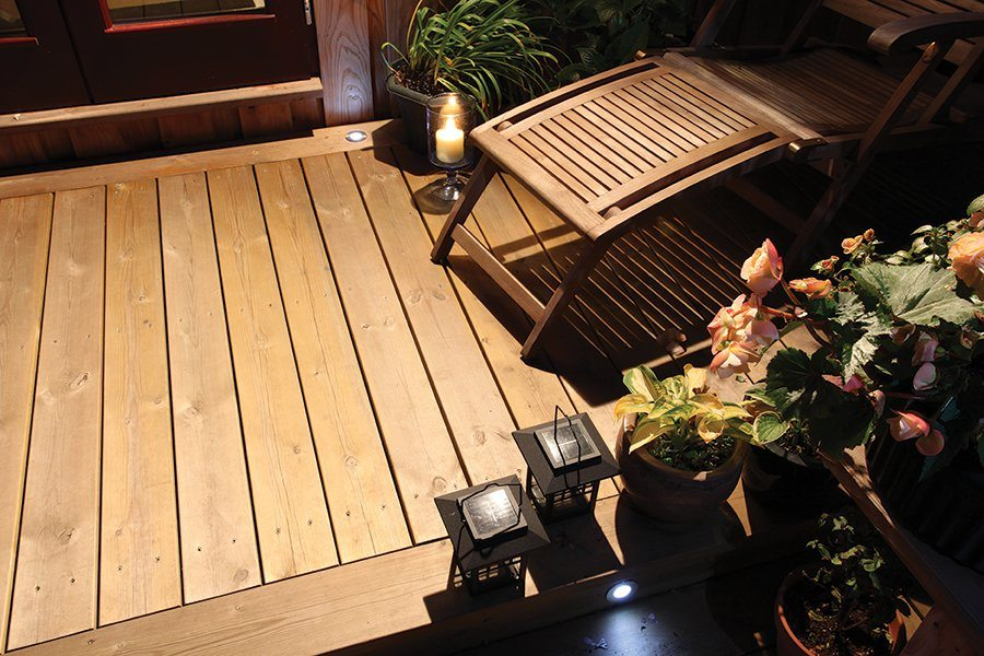Spotlights used in decking area