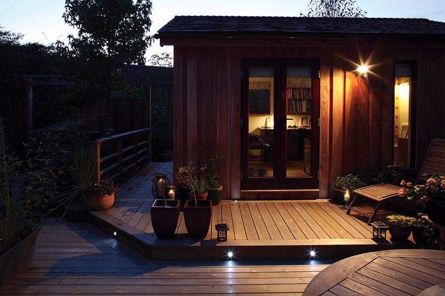 Deck with integrated spotlights