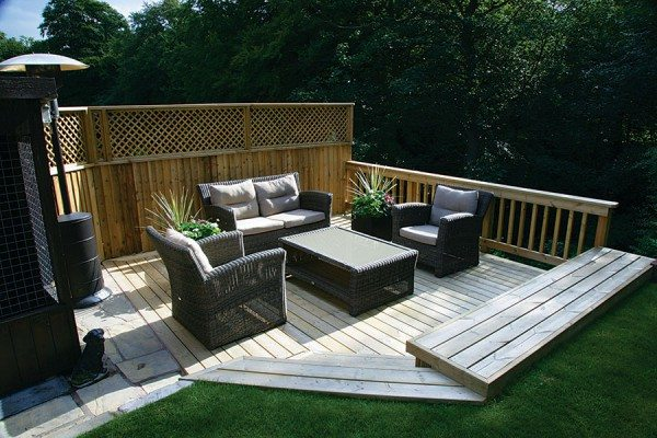 Timber decking seating area