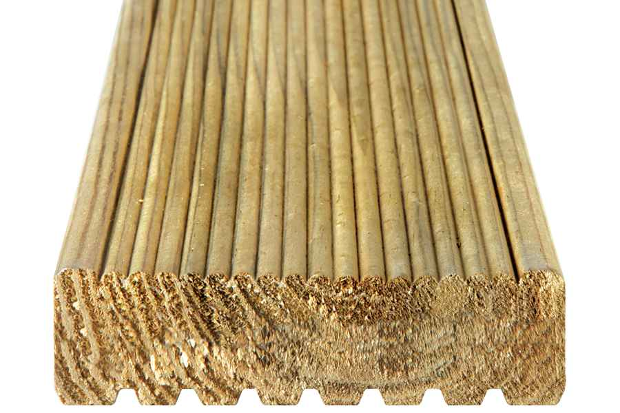 Grooved reeded reversible board 33 120 arbordeck for Non wood decking boards