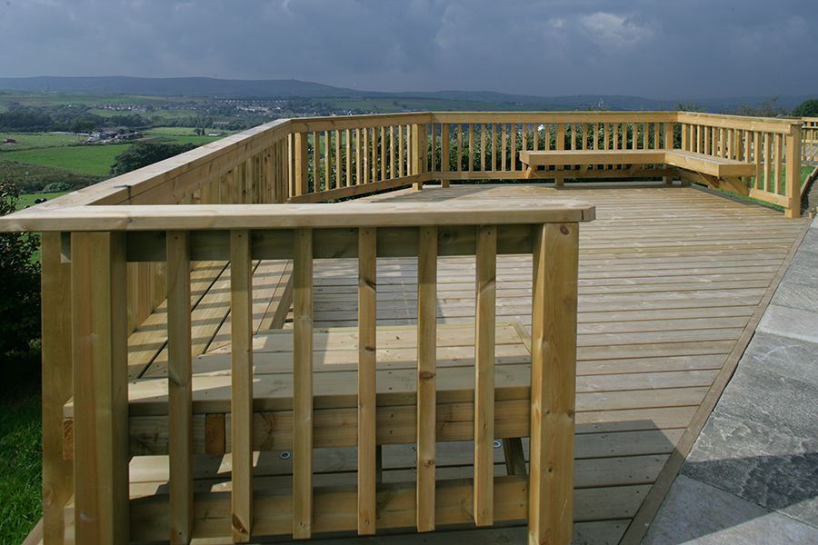 Decking area on a sloping garden
