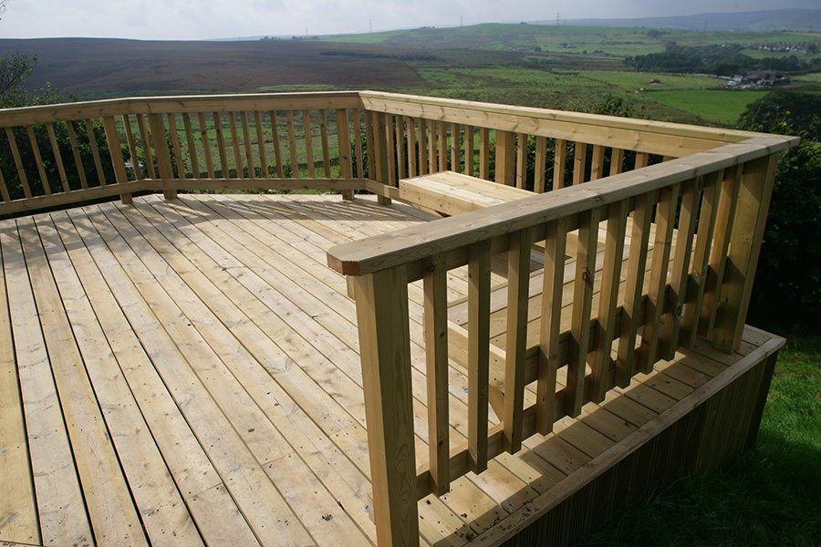 Balcony deck on a sloping garden