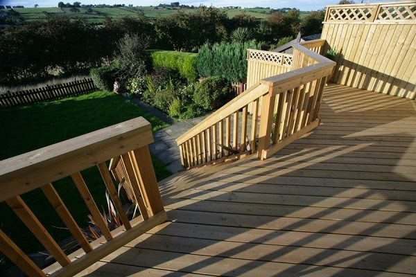 Raised timber deck with staircase