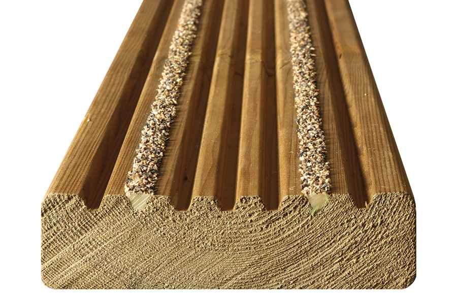 Two strip grooved enhanced grip board arbordeck for Cheap decking boards uk