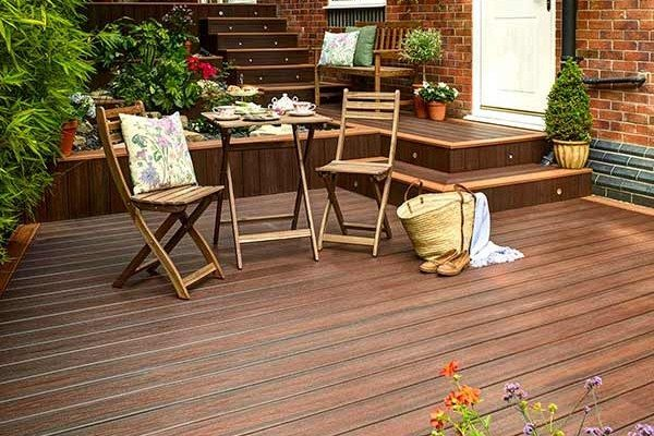 Trex Transcend Lava Rock multi level composite deck with stairs