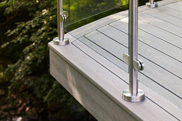 Close up of Trex Transcend composite decking in Gravel Path