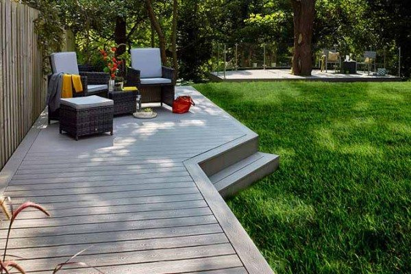 Two living areas using Trex Transcend composite decking in Gravel Path