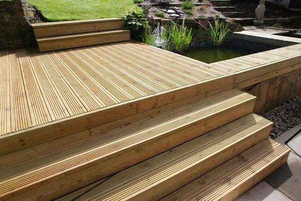 Grooved timber deck boards used on steps and raised deck