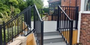 Pebble Grey Trex with aluminium railings
