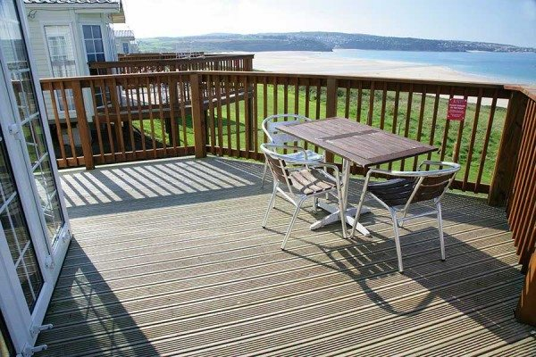 Decking offers a great dining area with a view