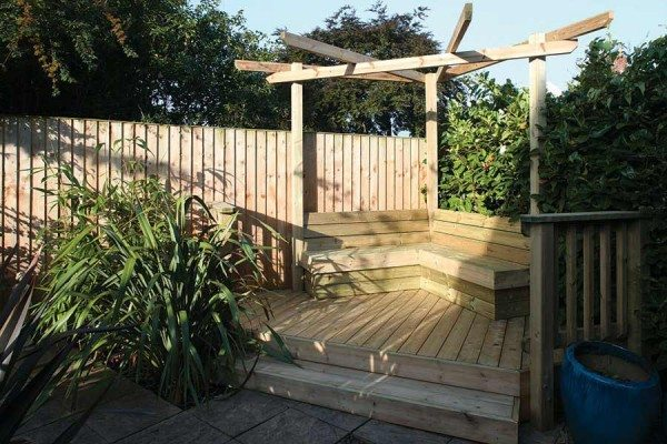 Pergola deck and bench