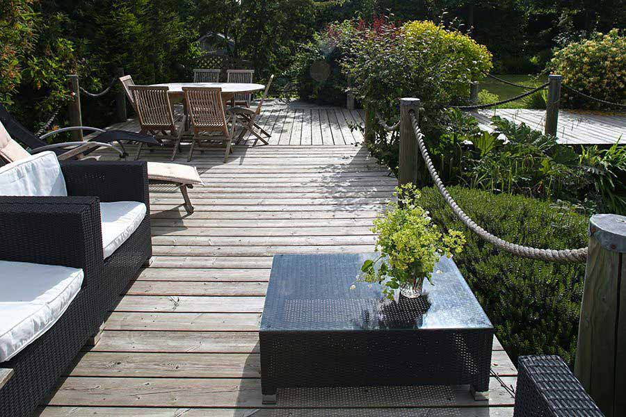 Timber decking creates a space to relax