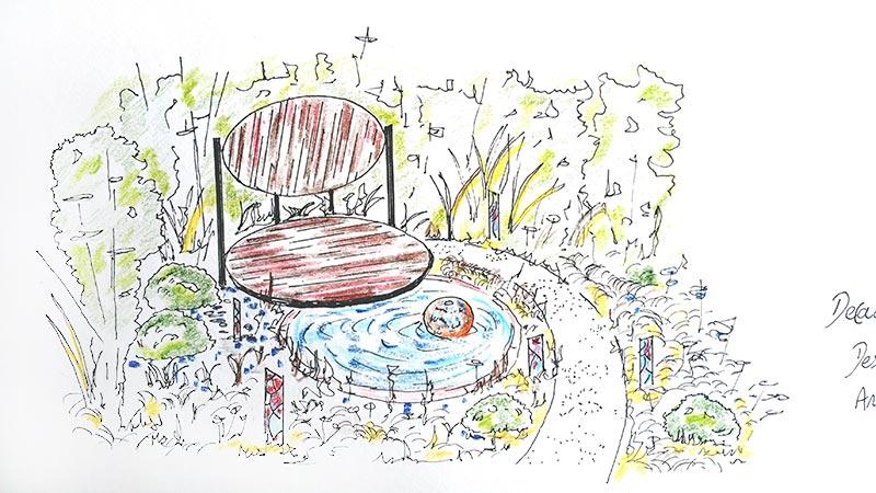 Sketch for circular Trex deck by Halcyon Days Garden Designs