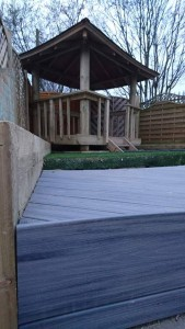 Close up of decking with view of sheltered area