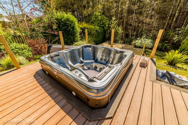 Hot tub and Trex decking installation