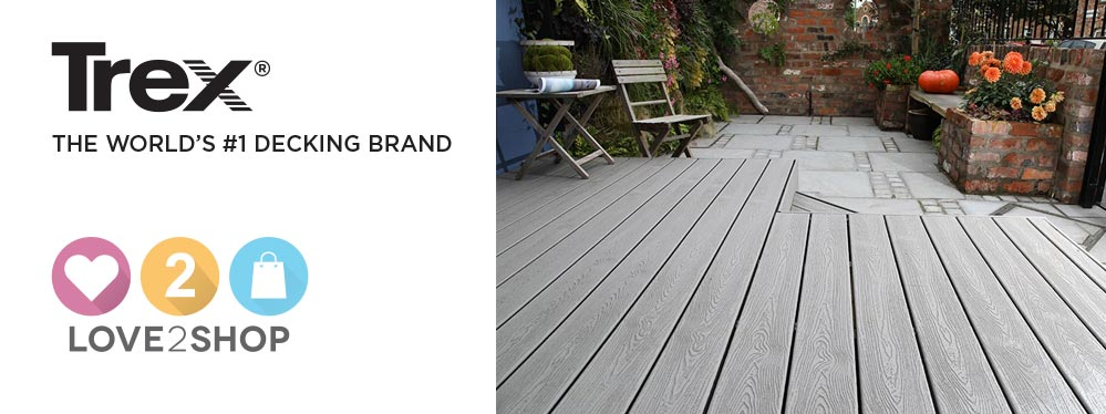 "Decking in a garden next to text reading ""Trex, the world's #1 decking brand""."