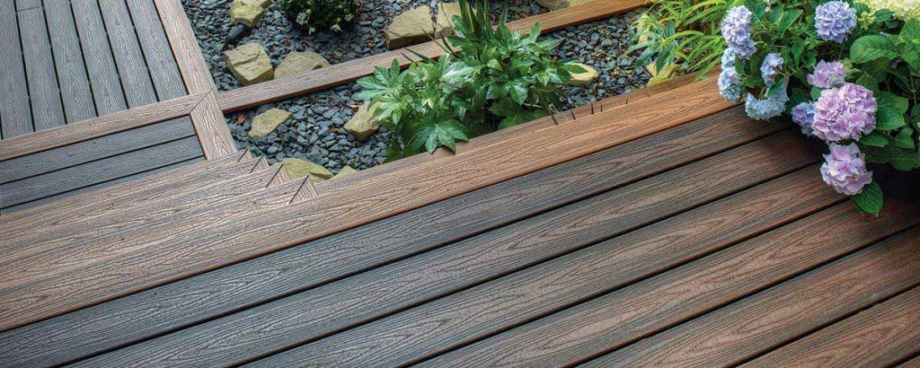 decking steps closeup with greenery