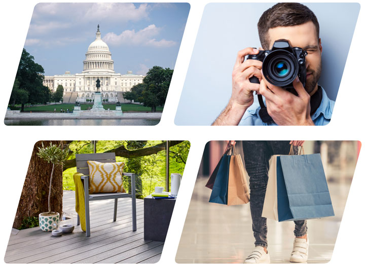 Prizes including a trip to Washing D.C., a camera, decking, outdoor furniture and shopping bags.