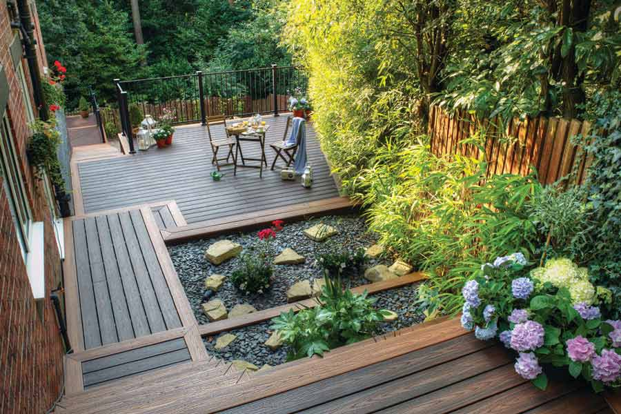 Greenery deck in a garden