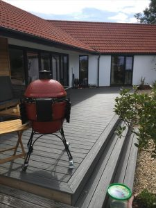 Decking in Island Mist with a barbecue