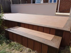 Residential decking with high stairs