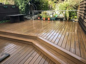 large decking area with glass panels