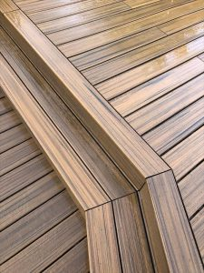 Close up of decking steps