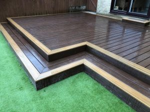 2 step decking leading to grass