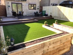 Newly refurbished garden with 2 step trex® decking