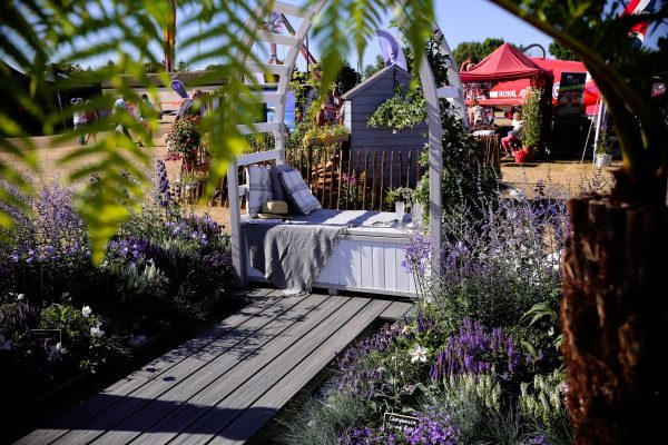 Lucy's garden centrepiece of seating archway surrounded by lavenders at Royal Norfolk Show