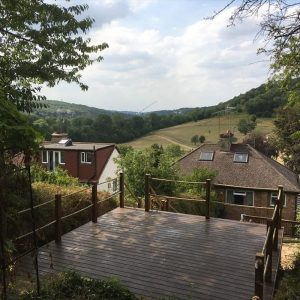 high decking balcony overlooking a countryside valley