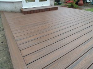 Small decking leading out to the garden close up