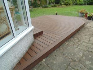 Small decking leading out to the garden