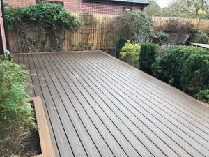 large decking in residential garden