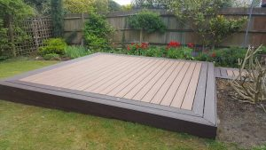 Decking platform in centre of garden