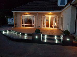 Trex decking with lighting at night