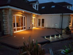 Large Trex decking area with spotlights