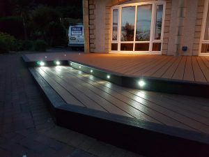Close-up of spotlights in steps