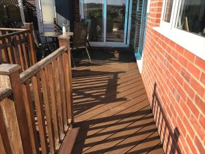 Decking patio in a back garden