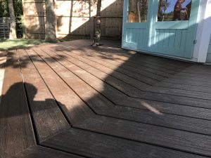 Hexagonal shaped decking in back garden