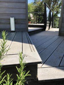 Close-up of grey Trex decking step