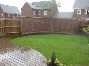Curved decking in a rediential garden