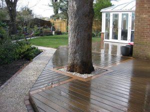 Wet Trex deck surrounding a tree