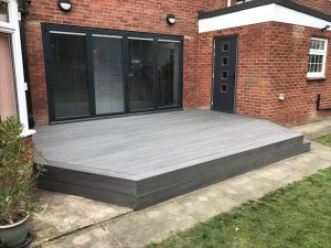 Hexagonal Decking in front of a house
