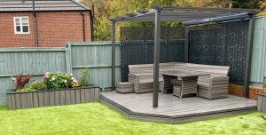 Grey Trex deck with pergola and seating
