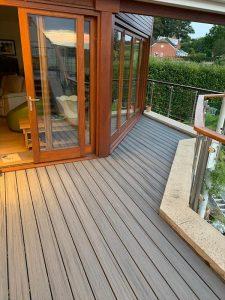 Grey Trex deck on balcony