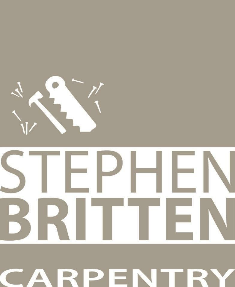 Stephen Britten Carpentry logo in light brown and white.