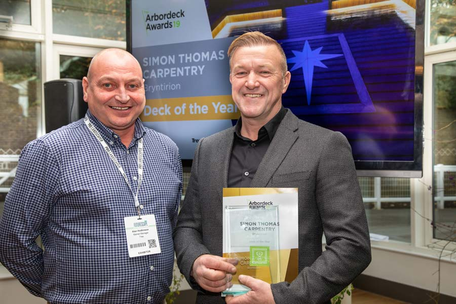 Simon Thomas receiving the Best of Trex award at the Arbordeck Awards 2019